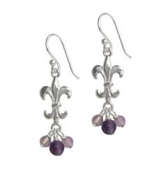 Sterling Silver Fleur-de-lis Stone Cluster Drop Earrings, Amethyst