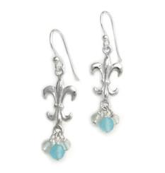 Sterling Silver Fleur-de-lis Stone Cluster Drop Earrings, Blue