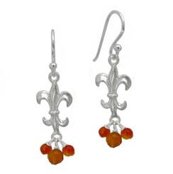 Sterling Silver Fleur-de-lis Stone Cluster Drop Earrings, Carnelian