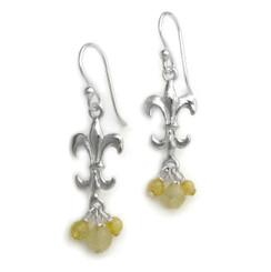 Sterling Silver Fleur-de-lis Stone Cluster Drop Earrings, Citrine