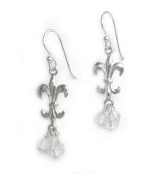 Sterling Silver Fleur-de-lis Stone Cluster Drop Earrings, Clear