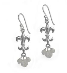Sterling Silver Fleur-de-lis Stone Cluster Drop Earrings, Moonstone
