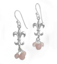 Sterling Silver Fleur-de-lis Stone Cluster Drop Earrings, Rose Quartz