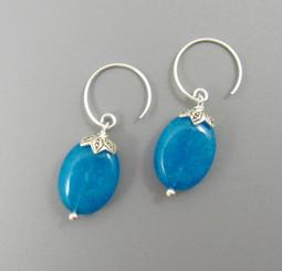 Sterling Silver Oval Stone Drop on Circle Hook Earrings, Blue