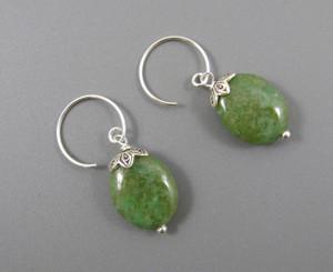 Sterling Silver Oval Stone Drop on Circle Hook Earrings, Green