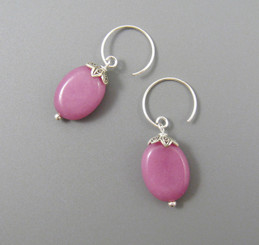 Sterling Silver Oval Stone Drop on Circle Hook Earrings, Pink