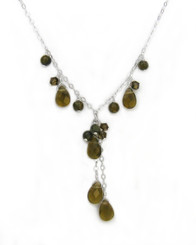 Sterling Silver Teardrop Cascading Drop Adjustable Necklace, Smoke