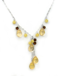 Sterling Silver Teardrop Cascading Drop Adjustable Necklace, Yellow