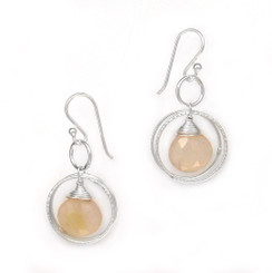 Sterling Silver Circle Charms Frame Stone Drop Earrings, Brown Moonstone