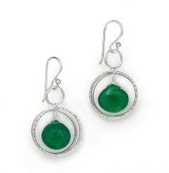 Sterling Silver Circle Charms Frame Stone Drop Earrings, Green Onyx