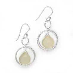Sterling Silver Circle Charms Frame Stone Drop Earrings, Moonstone