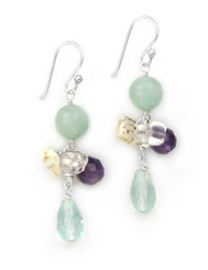 Sterling Silver Stone Cluster and Drop Earrings, Aqua