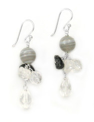 Sterling Silver Stone Cluster and Drop Earrings, Clear