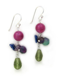 Sterling Silver Stone Cluster and Drop Earrings, Green
