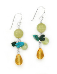 Sterling Silver Stone Cluster and Drop Earrings, Yellow