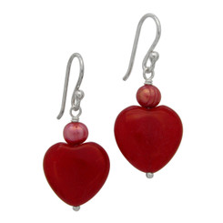 Sterling Silver Heart Stone Pearl Drop Earrings