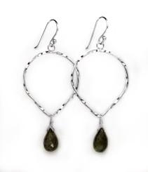 Sterling Silver Twisted Wire Reverse Teardrop and Stone Drop Earrings, Labradorite