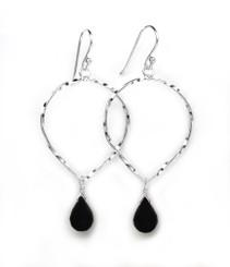Sterling Silver Twisted Wire Reverse Teardrop and Stone Drop Earrings, Onyx