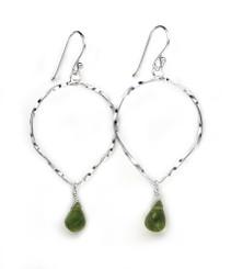 Sterling Silver Twisted Wire Reverse Teardrop and Stone Drop Earrings, Peridot