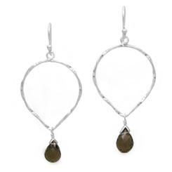 Sterling Silver Twisted Wire Reverse Teardrop and Stone Drop Earrings, Smoky Quartz