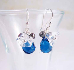 Sterling Silver Flower Crystal Stone Cluster Drop Earrings, Midnight Blue