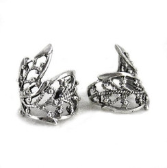 Sterling Silver Filigree Ornate Leaf Ear Cuff, One Piece