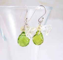 Sterling Silver Flower Crystal Stone Cluster Drop Earrings, Spring Green