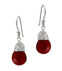 Briolette Stone Drop Coil and Spiral Wrapped Sterling Silver Earrings, Red
