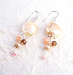 Sterling Silver Coin Pearl Mix Stones Cascading Drop Earrings, Champagne