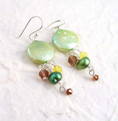 Sterling Silver Coin Pearl Mix Stones Cascading Drop Earrings, Green
