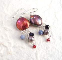 Sterling Silver Coin Pearl Mix Stones Cascading Drop Earrings, Red