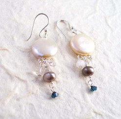 Sterling Silver Coin Pearl Mix Stones Cascading Drop Earrings, White