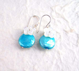"""Sterling Silver """"Bahama"""" Cultured Coin Pearl & Carved Mother-of-pearl Flower Earrings, Aqua"""