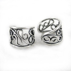 Sterling Silver Delicate Filigree Swirls Band Ear Cuff Earring, One Piece