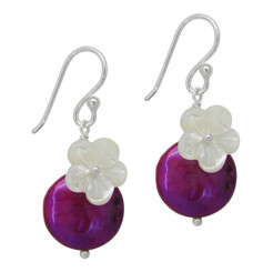 """Sterling Silver """"Bahama"""" Cultured Coin Pearl & Carved Mother-of-pearl Flower Earrings, Fuchsia"""