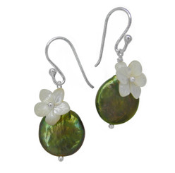 "Sterling Silver ""Bahama"" Cultured Coin Pearl & Carved Mother-of-pearl Flower Earrings, Olive"