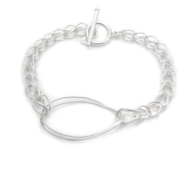 Sterling Silver Doubled Hand-made Twisty Ovals on Handmade Chain Bracelet