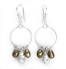 Sterling Silver Circle Wire Keshi and Pearls Drop Earrings, Olive
