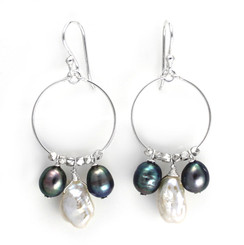 Sterling Silver Circle Wire Keshi and Pearls Drop Earrings, Peacock