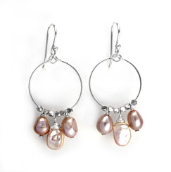 Sterling Silver Circle Wire Keshi and Pearls Drop Earrings, Pink