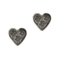 Sterling Silver Flowers Imprinted Heart Stud Earrings