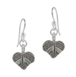 Sterling Silver Imprinted Leaves Drop Earrings