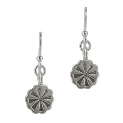 Sterling Silver Flower Charm Drop Earrings