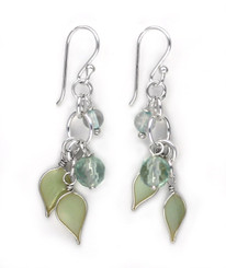 Sterling Silver Enamel Leaves and Stones Cascading Drop Earrings, Aqua