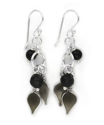 Sterling Silver Enamel Leaves and Stones Cascading Drop Earrings, Black