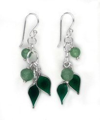 Sterling Silver Enamel Leaves and Stones Cascading Drop Earrings, Green