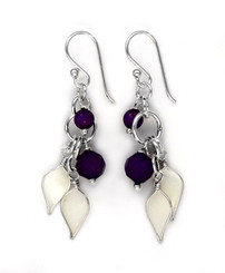 Sterling Silver Enamel Leaves and Stones Cascading Drop Earrings, Purple