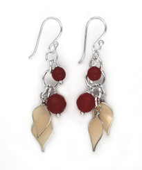 Sterling Silver Enamel Leaves and Stones Cascading Drop Earrings, Red