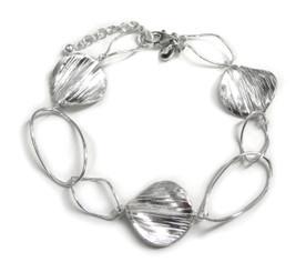 Sterling Silver Oval Link Round Charm Link Bracelet