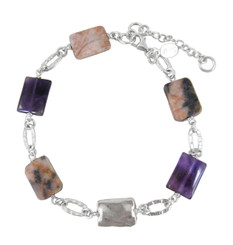 Sterling Silver Textured Oval Charm Silver Bead and Stone Link Bracelet